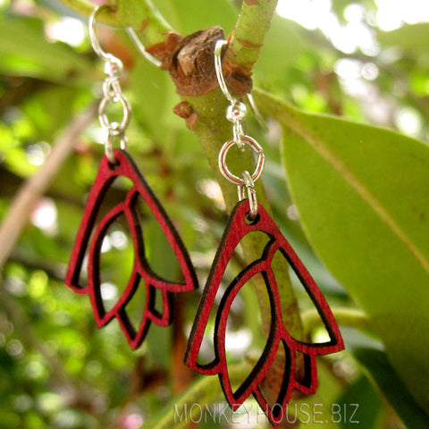 jennymonkey green tree jewelry leaf bouquet blossom laser cut wood earrings