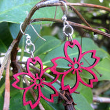 jennymonkey cherry blossom 117 laser cut wood earrings green tree jewelry 1
