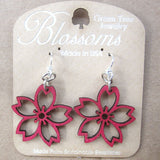 jennymonkey cherry blossom 117 laser cut wood earrings green tree jewelry 2