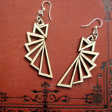 jennymonkey trianguar 1197 laser cut wood earrings green tree jewelry 3