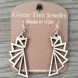 jennymonkey triangular 1197 laser cut wood earrings green tree jewelry 1