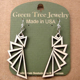 jennymonkey triangular 1197 laser cut wood earrings green tree jewelry 2
