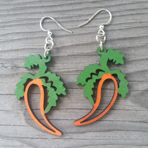 jennymonkey carrot laser cut wood earrings green tree jewelry 1252 _1
