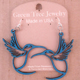 "Hummingbird Royal Blue Laser-Cut Wood Earrings, Large 2"" Statement Pieces"