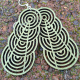 jennymonkey ascending interlocking circles 1377 laser cut wood earrings apple green close up