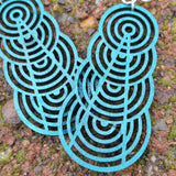 jennymonkey ascending interlocking circles 1377 laser cut wood earrings close up