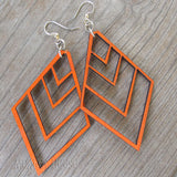 jennymonkey green tree jewelry upside down fountain pyramid laser cut wood earrings
