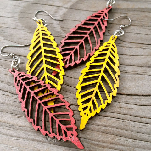 Autumn Leaf in Fall Colors Laser-Cut Wood Earrings