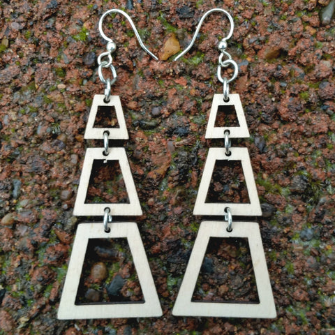 jennymonkey judith's pyramid trapezoid laser cut wood earrings 1493