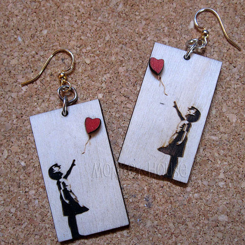 banksy girl heart balloon earrings laser cut wood 1511 jennymonkey