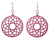 Flare Mandala Fuchsia Laser-Cut Wood Earrings