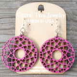 jennymonkey green tree jewelry flare laser cut wood earring 1516 fuchsia