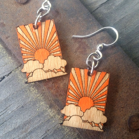 Jennymonkey Sunrise laser cut etched wood earrings MPN#112