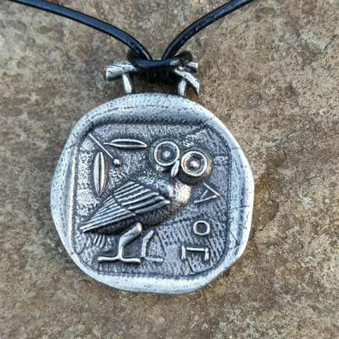 athena's owl pewter necklace greek coin at jennymonkey