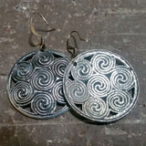 jennymonkey oberon design celtic spiral pewter hand cast earrings er39