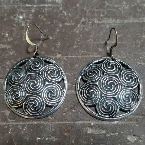 jennymonkey oberon design celtic spiral pewter hand cast earrings