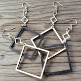 open square geometric dangle earrings laser cut wood green tree 1257