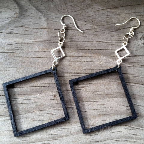 black satin open square laser cut earrings at jennymonkey by green tree jewelry