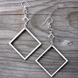 geometric natural sustainable open square earrings at jennymonkey