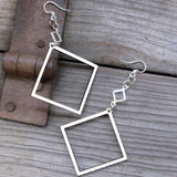 affordable sustainable ecojewelry square laser cut earrings by green tree jewerly
