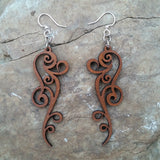 ornate scroll filigree earrings $14 laser cut wood at jennymonkey