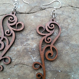 ornate scroll laser cut wood earrings cinnamon brown 1261 green tree jewelry