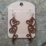 Ornate Scroll Cinnamon Brown Filigree Laser-Cut Wood Earrings Green Tree Jewelry