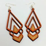 art deco chevron laser cut wood earrings green tree jewelry jennymoney