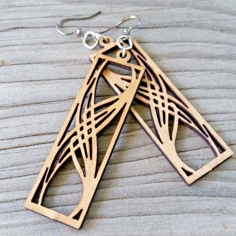 art nouveau laser cut wood earrings rectangular elegance jennymonkey