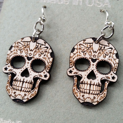 sugar skull laser cut wood earrings jennymonkey 1499