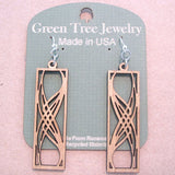 Rectangular Elegance Tan Laser-Cut Wood Earrings by Green Tree Jewelry