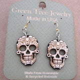sugar skull laser cut wood earrings 1499 green tree jewelry