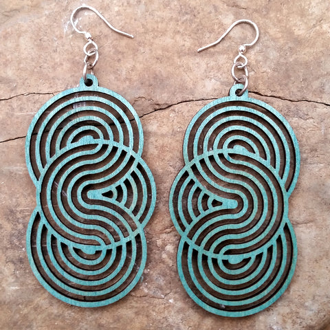 Seamless Circle Teal Blue Geometric Laser-Cut Wood Earrings Green Tree Jewelry