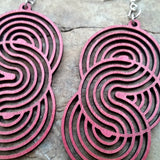 Seamless Circle Wine Red Geometric Laser-Cut Wood Earrings Green Tree Jewelry Close Up