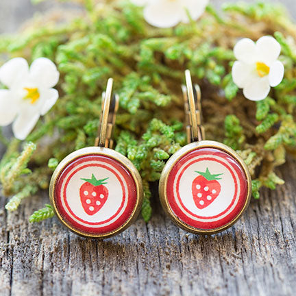 Strawberry School Art Ephemera Glass Dome Dangle Earrings
