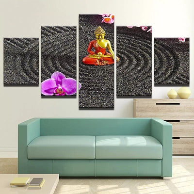 BUDDHA ART WITH ORCHID - Ole Canvas
