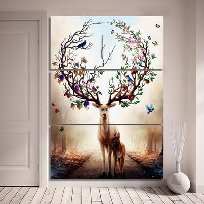 Deer And Butterflies - Ole Canvas
