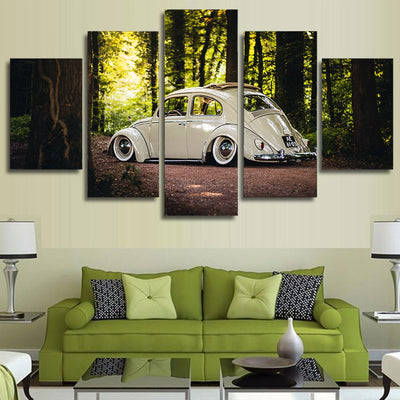 VINTAGE BEETLE CAR IN WOODS - Ole Canvas