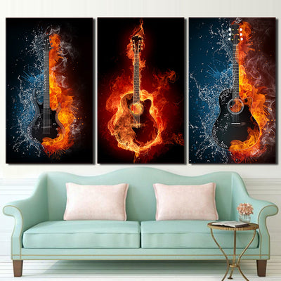 THREE BLAZING GUITARS - Ole Canvas