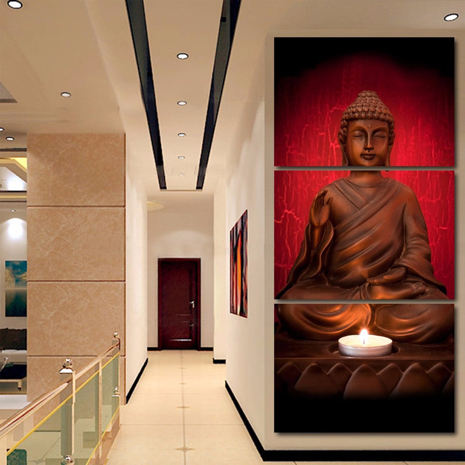 BUDDHA RED CANDLE LIGHT, PRINTS, Ole Canvas