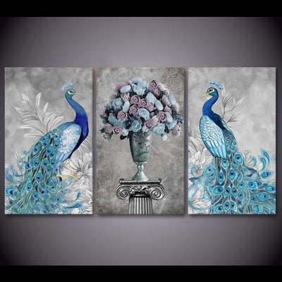 PEACOCK AND FLOWERS - Ole Canvas