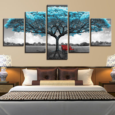 BLUE TREE RED CHAIR - Ole Canvas