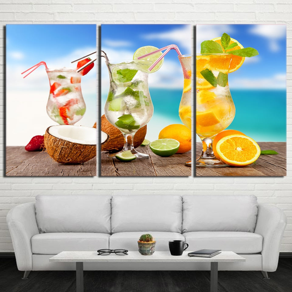 Three Cocktails, PRINTS, Ole Canvas