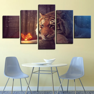 Butterfly and the Tiger - Ole Canvas