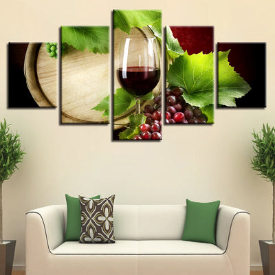 WINE AND GREEN LEAVES - Ole Canvas