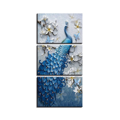 PEACOCK AND WHITE ORCHID - Ole Canvas