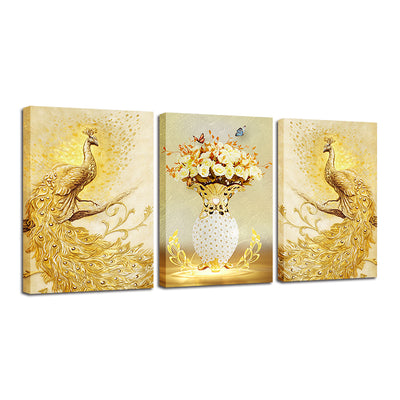 TWO GOLD PEACOCK - Ole Canvas