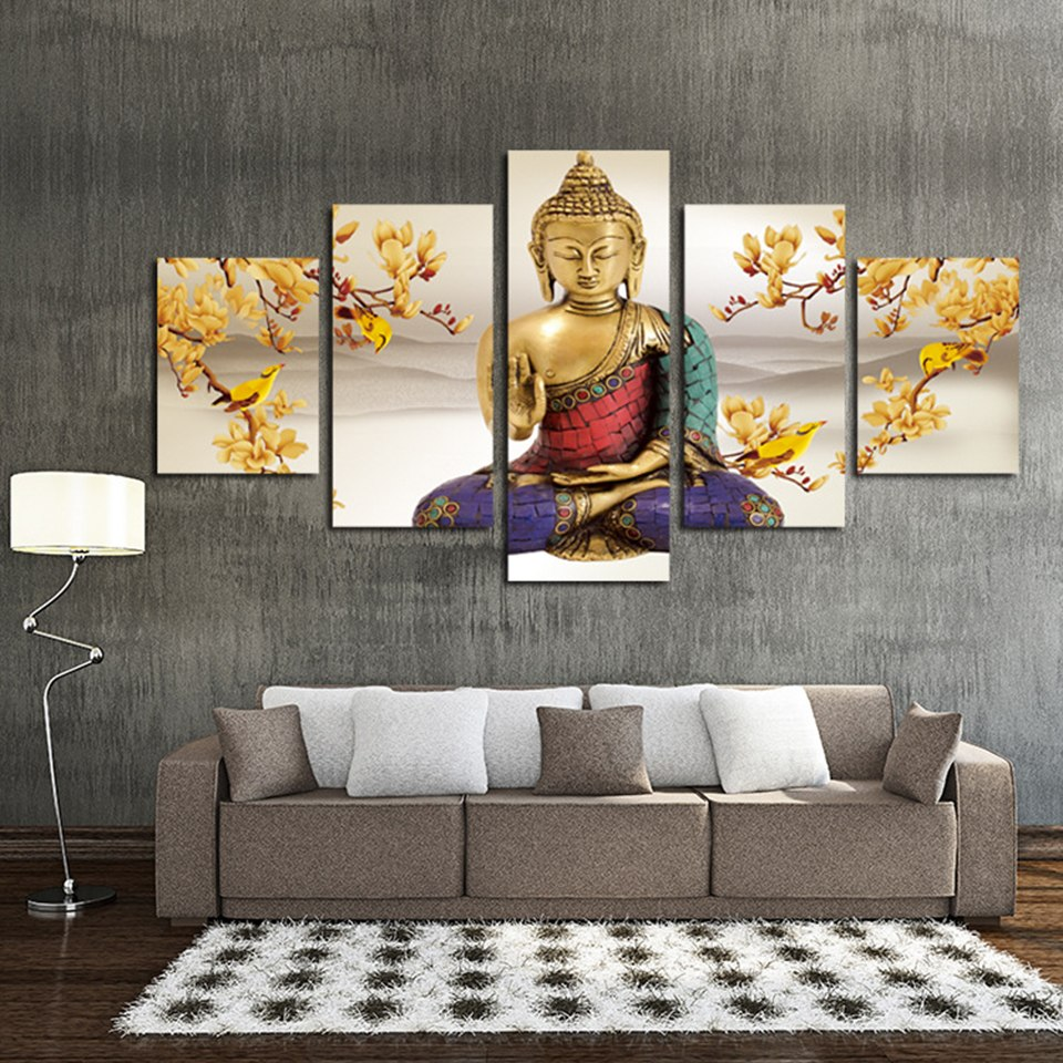 Buddha and Yellow Bird, PRINTS, Ole Canvas