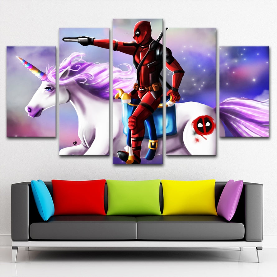 Deadpool on Unicorn - Ole Canvas