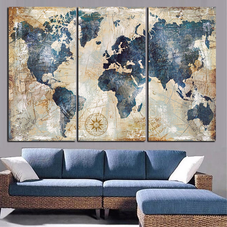 Blue World Map, PRINTS, Ole Canvas